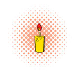 Candle icon, comics style Stock Photography