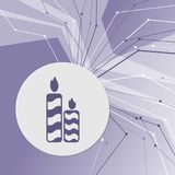 Candle icon on purple abstract modern background. The lines in all directions. With room for your advertising. Illustration Royalty Free Stock Photos