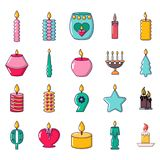 Candle icon set, cartoon style. Candle icon set. Cartoon set of candle vector icons for web design isolated on white background Royalty Free Stock Image