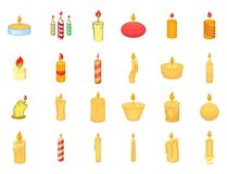 Candle icon set, cartoon style. Candle icon set. Cartoon set of candle vector icons for your web design isolated on white background Royalty Free Stock Images