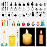 Candle Icon And Vector Drawing Set. Candle set. All in one place. Vector draw and icons Royalty Free Stock Images