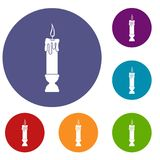 Candle icons set Stock Photos