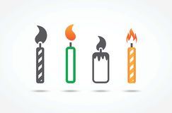 Candle icons. With shadow on white background Royalty Free Stock Photo