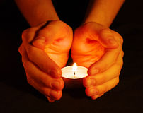 Candle In A Hand Stock Image