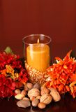 Candle In An Autumn Setting Stock Photos