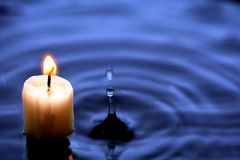 Candle In Water Stock Photos
