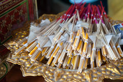 Candle and incense stick sets in basket. Candle and incense stick sets in  basket - close up Royalty Free Stock Photo