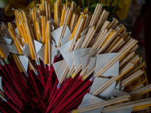 Candle and incense sticks in temple, Thailand Stock Photography