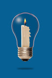Candle inside a light bulb Royalty Free Stock Images