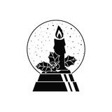 Candle inside sphere design. Candle and inside sphere icon. Merry Christmas season decoration figure theme. Black and white design. Vector illustration Royalty Free Stock Photos