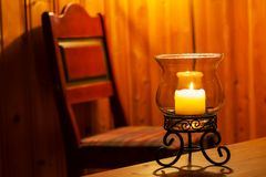 Candle in interior Stock Images