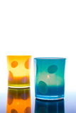 Candle jars, colorful. Stock Photos