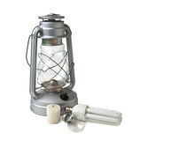 Candle,  kerosene lamp, and electric lamps Royalty Free Stock Images