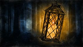 Candle Lantern in a dark forest - Creepy halloween animation loop.mov