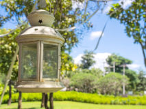 Candle lantern hang on tree Royalty Free Stock Image