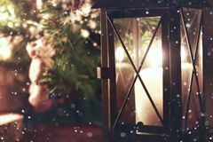 Candle lantern holiday snow fairy Stock Image