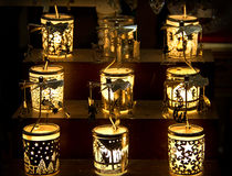 Candle or lantern lights at the christmas Stock Photography