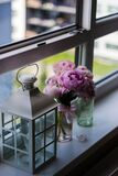 Candle Lantern Near Purple Petaled Flower on Glass Window Stock Images
