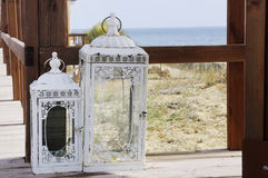 Candle Lantern on Wooden Deck Stock Images