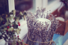 Candle with lavender Stock Images