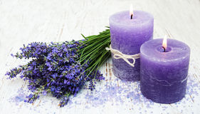 Candle, lavender and sea salt Royalty Free Stock Images