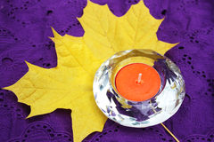Candle and leaf Royalty Free Stock Photography