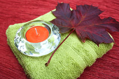 Candle and leaf Stock Photography
