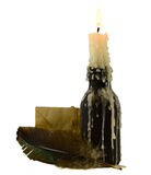 Candle with letter and feather. Burning candle with letter and feather isolated on white Stock Photo