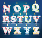 Candle letters from N to Z Stock Photos