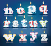 Candle letters from n to z Royalty Free Stock Photography