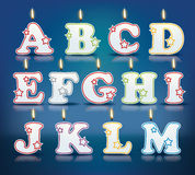 Candle letters from A to M. With flames - eps 10  illustration Stock Photography