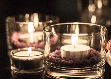 Candle ligh. Tea Lights decoration on table and glass Stock Photography
