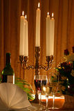 Candle light. Romantic candle light dinner with back light Stock Images