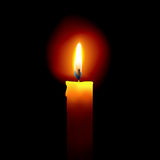 Candle light. Illustration of a Realistic looking candle  in a dark background Stock Photo