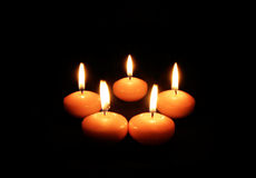 Candle Light. The Romantic Candle Light on the Darkness Stock Image