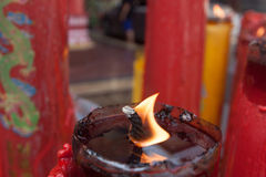 Candle light in chinese temple. Royalty Free Stock Photography