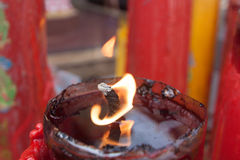 Candle light in chinese temple. Stock Photos