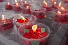Candle light in chinese temple. Royalty Free Stock Photo