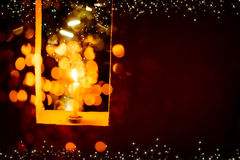 Candle light in Christmas. Blur and soft focus of Candle light with bokeh light in Christmas Royalty Free Stock Photos