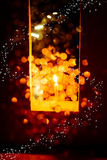 Candle light in Christmas. Blur and soft focus of Candle light with bokeh light in Christmas Stock Photos