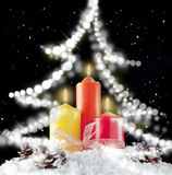 Candle light and christmas tree Royalty Free Stock Image