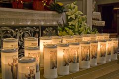 Candle light in a church Stock Photography