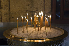 Candle light cresset. Greek old byzantine candle light cresset outside a monastery Stock Photography