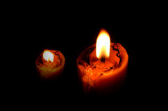 Candle light in the dark Stock Image