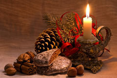 Candle Light with Decoration Stock Photos