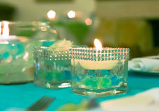 Candle light diner. Table set for dinner Royalty Free Stock Image