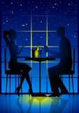 Candle Light Dinner. An illustration of a couple having candle light dinner Stock Photography