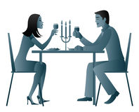 Candle light dinner. Illustration of a Couple eating candlelight dinner Stock Images