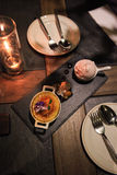 Candle Light Dinner with Dessert Royalty Free Stock Photo