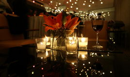 CANDLE LIGHT DINNER TABLE. Setting in a restaurant Royalty Free Stock Photography